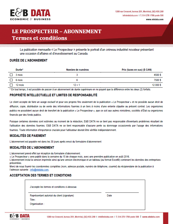 Formulaire d'abonnement - Prospecteur